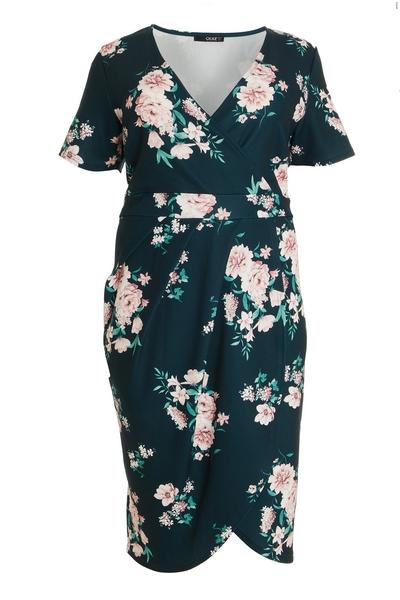 Curve Green Floral Wrap Midi Dress